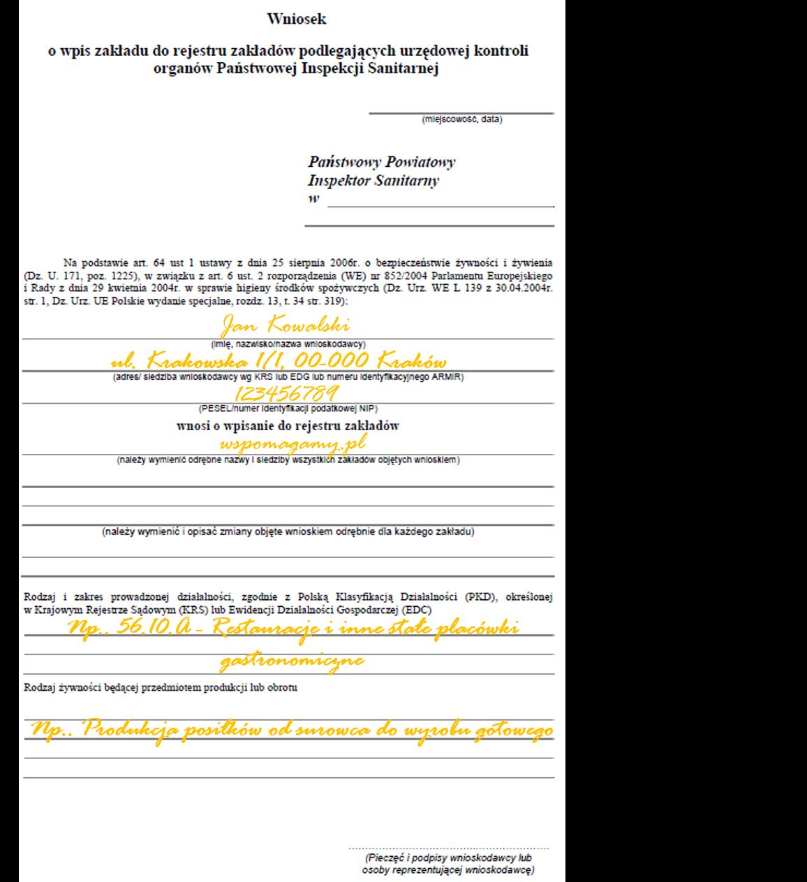 Modish Jak wypełnić wniosek do SANEPIDU? - Pomagamy przejść kontrolę sanepid RM77
